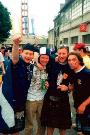 Frago , Donald, Myself and some other bloke wi a jesters hat outside the Stadium in Bordeaux